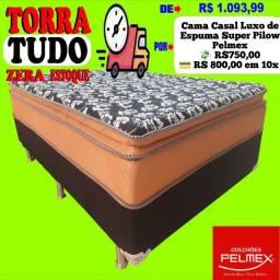 Entrega grátis de Cama Casal com Espuma Pilow Pelmex Luxo