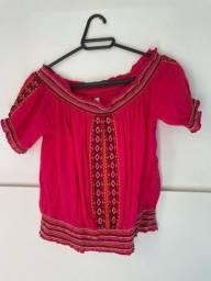 Blusa rosa ombro a ombro tamanho M