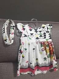 Vestido com Tiara Infantil Menina tamanho 1 ano