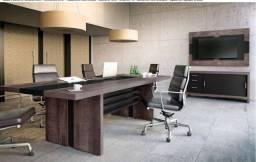Mesa de reunião e balcao com pasta suspensa