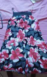 Macaquinho florido de tecido veste M ou G