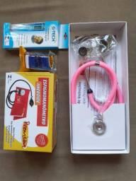 Kit Tensiometro + Estetoscópio + Termômetro + Garrote  Novo