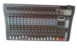Mesa de Som 16 Canais Bluetooth Entradas P10 Microfone Fone Visor Digital