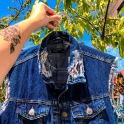 Colete jeans alongado