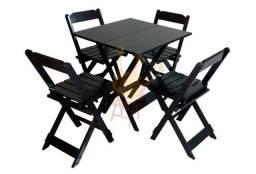 Conjunto de Mesas e Cadeiras de Madeira Dobrável para Lanchonetes, Restaurantes, Bares