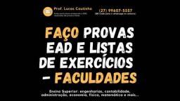 Listas de Exercícios: Álgebra / Cálculo 1 2 3 / Física / MecFlu / ResMat / Estruturas