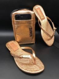 Kit sandália + bolsa schutz dourada