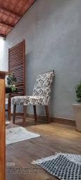 4 cadeiras estampadas ld pé de madeira