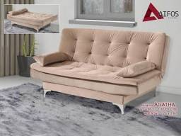 (7340) Sofa Cama Agatha Bege - whatsapp: 98128=7340