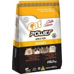 Ração cat power para gatos adultos castrados sabor frango ou salmão 10kg