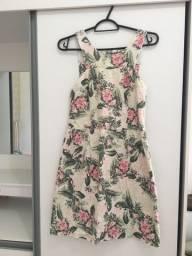 Vestido Floral Rosa e Verde 36/38 - Vendas da Carol