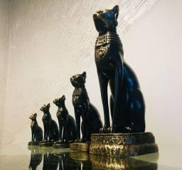 Gatos Egípcios Deusa Bastet 5 Und. Em Resina Enfeite Egito