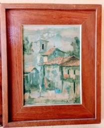 Quadro Pintura óleo Assinado G. Evaristo O Vilarejo