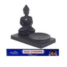 Kit Paz Profunda - Incensário Buda Em Meditação + Incenso