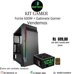 Título do anúncio: Kit Gabinete Gamer + Fonte 600W real 80 Plus Bronze !!! Promoção !!!