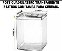 Pote Cristal Quadrilátero Acrílico 10 litros