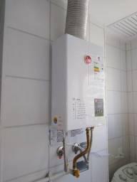 Instalação aquecedor a gás com material