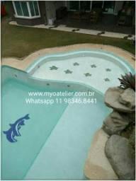 Golfinho mosaico piscina