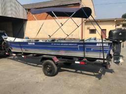 Lindo Barco de Alumínio 6m com Motor Yamaha 25 HP kit 2013 - 2013