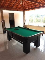 Mesa de Bilhar Charme Preta Tx Tecido Verde Modelo KDA3220