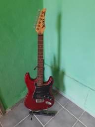 Guitarra Condor elétrica com capa profissional e pedestal