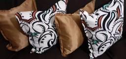 Kit de almofadas decorativas completas capa e enchimento individual com zíper