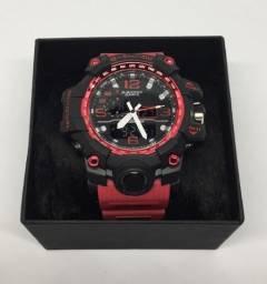 Relógio Casio G-shock GA-1000 Pulseira Vermelha e Caixa Preta Garantia Novo Na Caixa