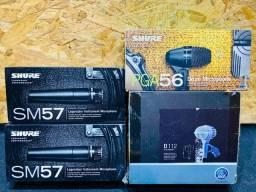 Microfones Shure SM57,PGA56,AKG D112