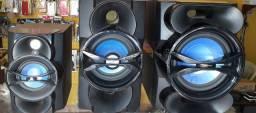 Caixas de som Philips peq, med e grandes 4 e 8 ohms.