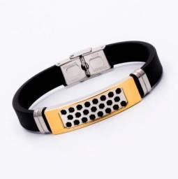 Pulseira Bracelete Masculino Silicone Aço Inox