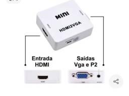 Adaptador conversor HDMI p/ VGA transmite áudio e vídeo