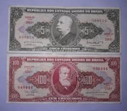 Cédulas Antigas (5 Cruzeiros E 100 Cruzeiros)