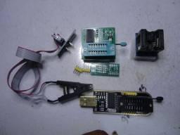 Gravador Ch341a Pró +Garra Jacaré e Adaptadores 200mil +1.8v Clipe