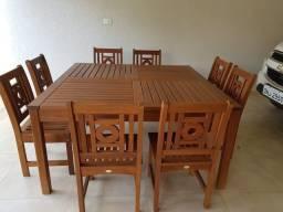 Mesa madeira quadrada 8 cadeiras