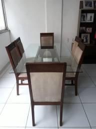 Mesa de Jantar com Vidro para 6 Lugares com 6 Cadeiras