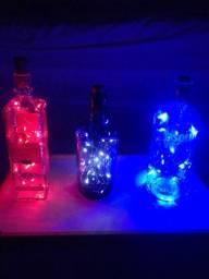 Luminária / Abajur Garrafa Rolha Led Luz Fio Fada Com Garrafa Decoração Casa Festas