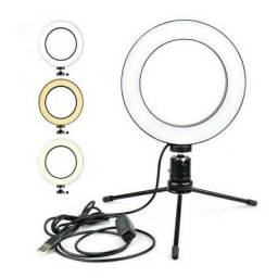 Ring light de mesa 16 cm com 3 tons de cor.
