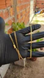 Corrente grumet 4mm banhada a ouro
