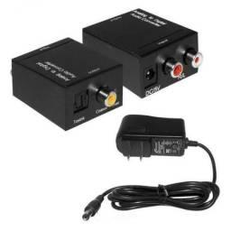 Adaptador, Conversor de Áudio Óptico p/ analógico RCA Knup 3463