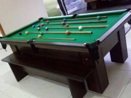 Mesa com Tecido Verde, Cor Tabaco (4 pés) Residencial Mod AMLP1039