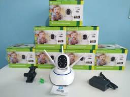 Câmera de segurança via Wi-Fi padrão DVR, imagens HD, visão noturna, gira 360°