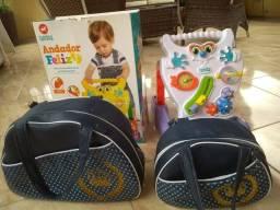 Andador para crianças + 2 bolsas para bebê