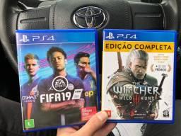 Jogos PS4 The Witcher e FIFA19