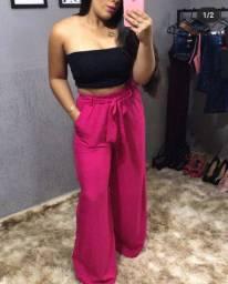 Calça Pantalona Com Amarração Pink