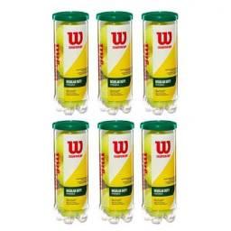 6 tubos de bola tênis Wilson Championship Regular Duty Saibro