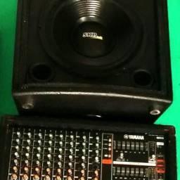 """Mesa de som amplificada (mixer) com caixa passiva SKP 12"""" 400w + Brinde (Tripé)"""