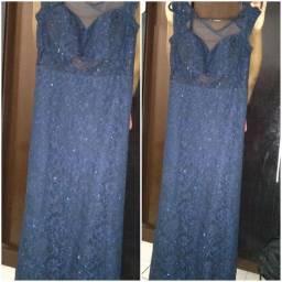 Vestido De Festa Azul Caneta com Brilhos