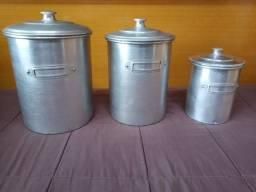 3 Porta Mantimentos Em Alumínio Anos 60