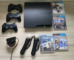 PlayStation 3 slim 120g + kit Move + 3 controles originais + 4 jogos