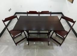Jogo de mesa 120x70 madeira de lei